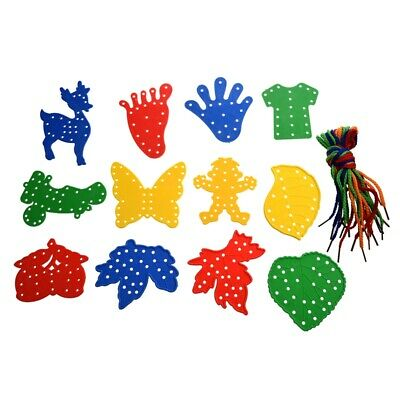 12Pcs Children Educational Threading Toy Various Shapes w/