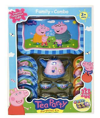 Peppa Pig Tin Tea Set Childrens Kids Role Play Toy Tea set