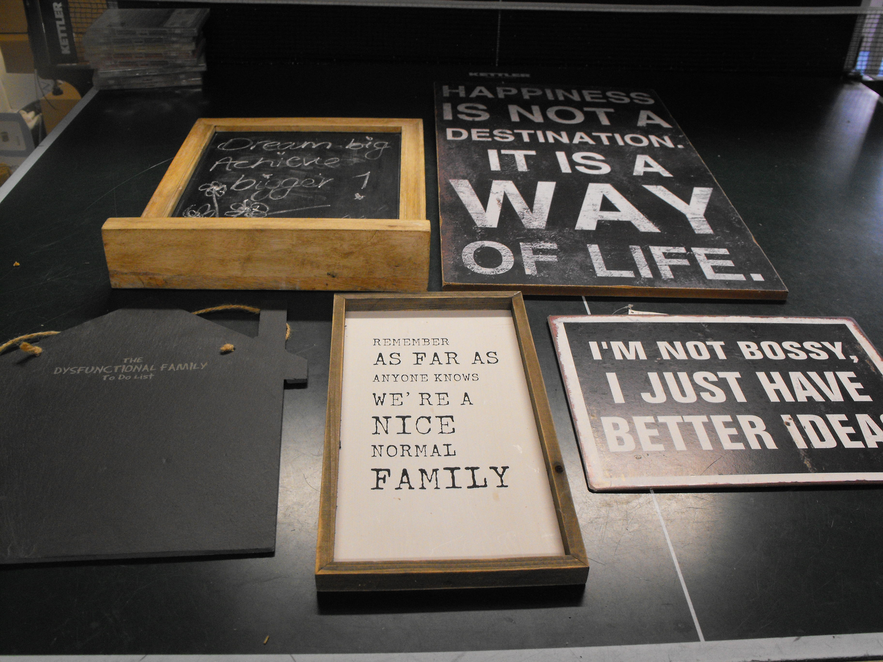 Wall hanging, chalk board, frame & signs