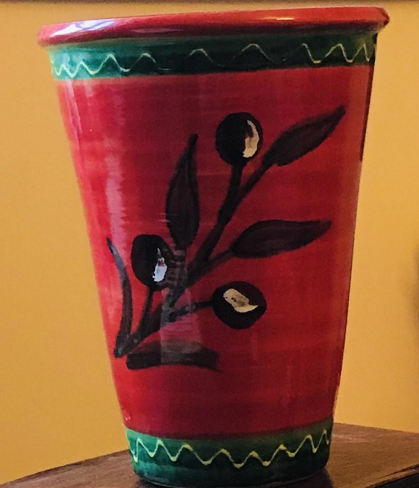 Stunning ceramic plant pot, red and green with olive