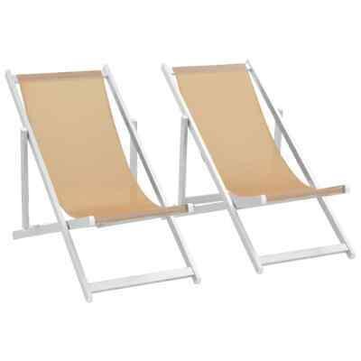 vidaXL 2x Folding Beach Chair Cream Aluminium and Textilene