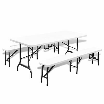 vidaXL Garden Table with 2 Benches Foldable HDPE and Steel