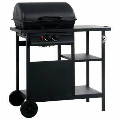vidaXL Gas BBQ Grill with 3-layer Side Table Black Outdoor