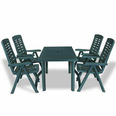 vidaXL Outdoor Dining Set 5 Piece 126x76x72cm Green Garden