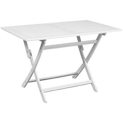 vidaXL Outdoor Dining Table White Acacia Wood With an