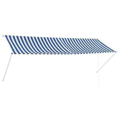 vidaXL Retractable Awning 350x150cm Blue and White Canopy