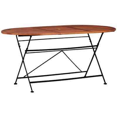 vidaXL Solid Acacia Wood Garden Table Oval Bistro Patio