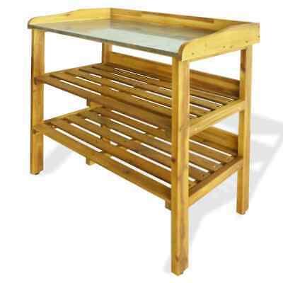 vidaXL Solid Acacia Wood and Zinc Potting Bench with 2