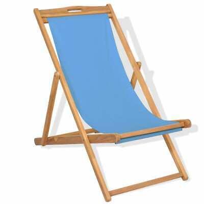 vidaXL Teak Deck Chair 56x105x96cm Blue Outdoor Garden Beach