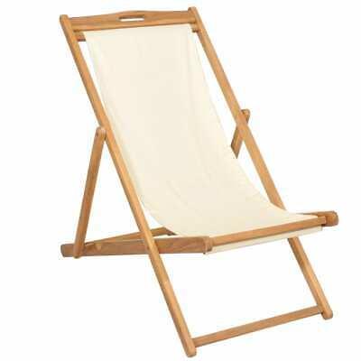 vidaXL Teak Deck Chair 56x105x96cm Cream Outdoor Garden