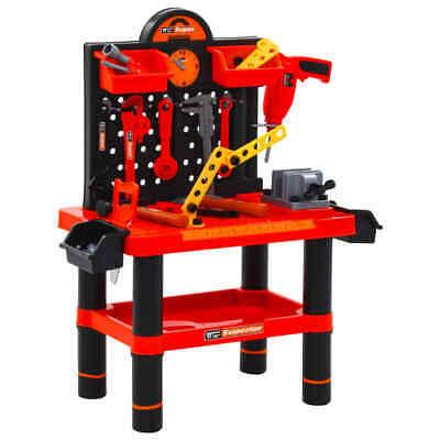 vidaXL 51 Piece Kids' Playroom Toy Workbench Set Red Black