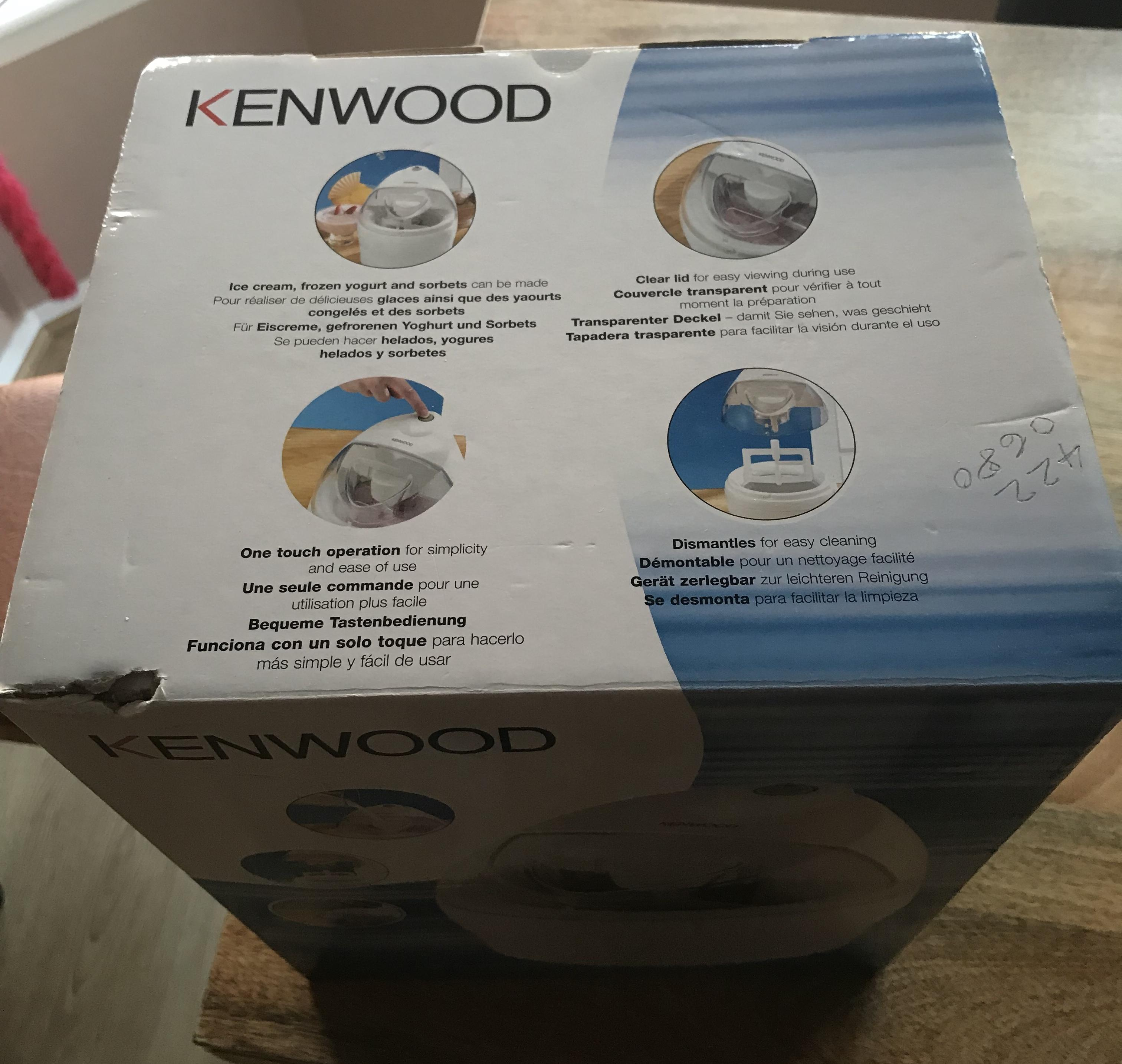 Kenwood Ice cream maker. Sorbets and frozen yoghurt. Boxed