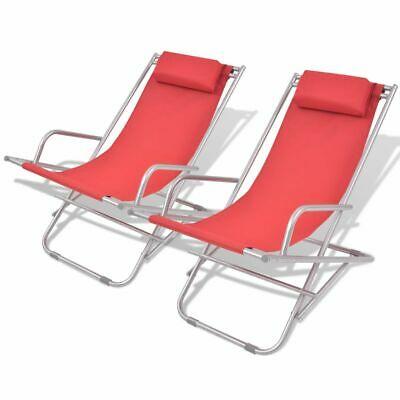 vidaXL 2x Deck Chairs Reclining Red Steel 69x61x94cm