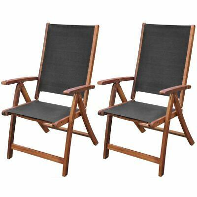 vidaXL 2x Folding Chairs Acacia Wood Black Outdoor Terrace