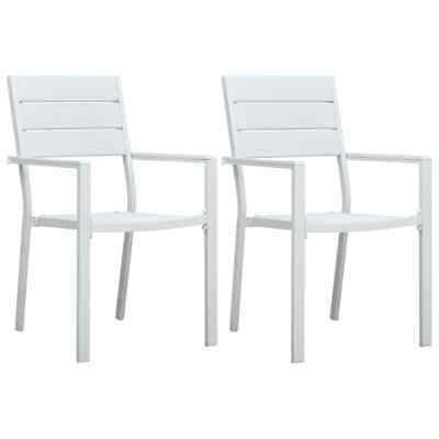vidaXL 2x Garden Chairs White HDPE Wood Look Outdoor Patio