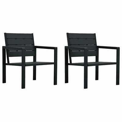 vidaXL 2x Garden Chairs Wood Look HDPE Black Outdoor Chairs