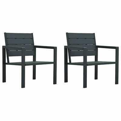 vidaXL 2x Garden Chairs Wood Look HDPE Grey Outdoor