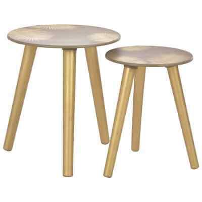 vidaXL 2x Nesting Side Tables Gold MDF Coffee Table