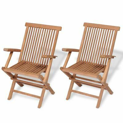 vidaXL 2x Solid Teak Wood Folding Garden Chairs Outdoor