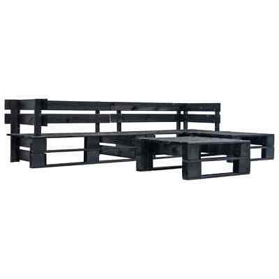 vidaXL 4 Piece Garden Pallet Lounge Set Black FSC Wood