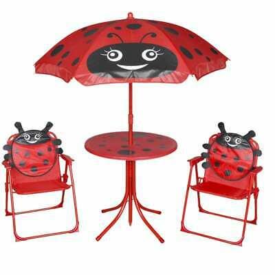 vidaXL 4 Piece Kids' Garden Furniture Set Red Outdoor Table