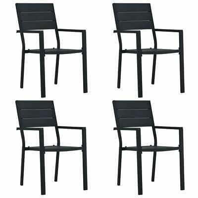 vidaXL 4x Garden Chairs Black HDPE Wood Look Outdoor Patio
