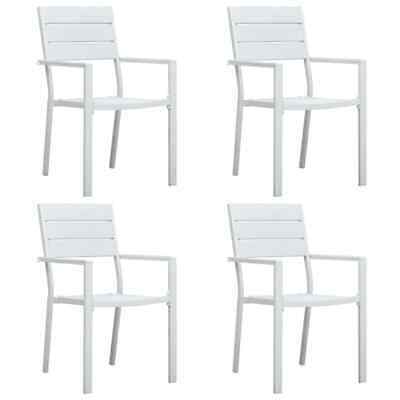 vidaXL 4x Garden Chairs White HDPE Wood Look Outdoor Patio