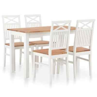 vidaXL 5 Piece Solid Oak Wood Dining Set Home Kitchen