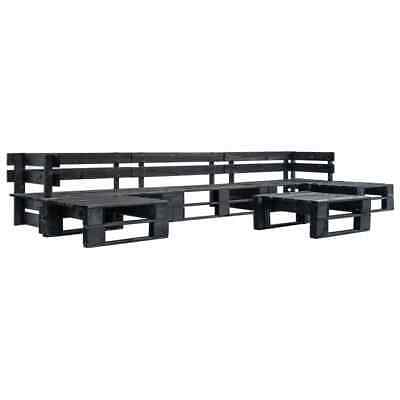 vidaXL 6 Piece Garden Pallet Lounge Set Black FSC Wood