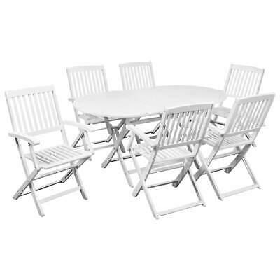 vidaXL 7 Piece Outdoor Dining Set Acacia Wood White Garden