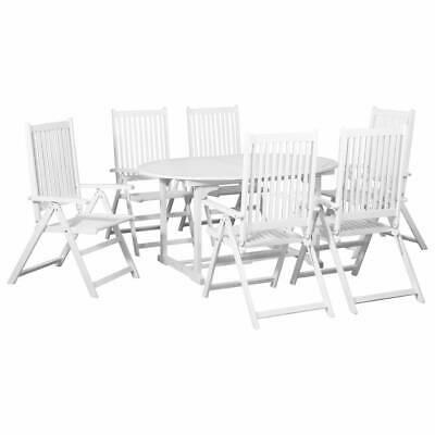 vidaXL 7 Piece Outdoor Dining Set Wood White Extendable