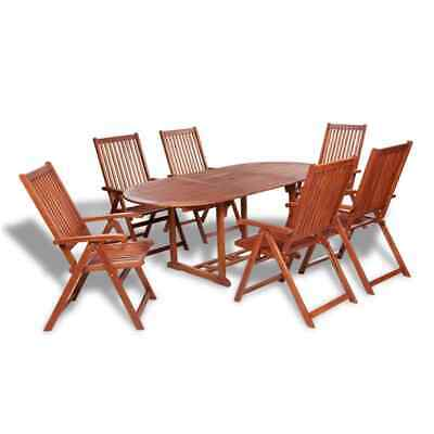vidaXL 7 Piece Outdoor Dining Set Wood with Extendable Table