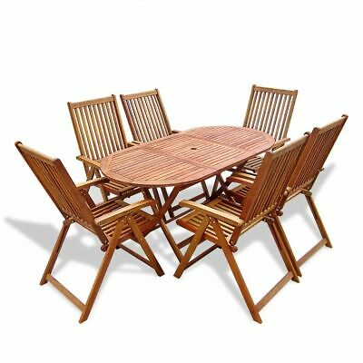 vidaXL 7 Piece Outdoor Dining Set Wood with Folding Table