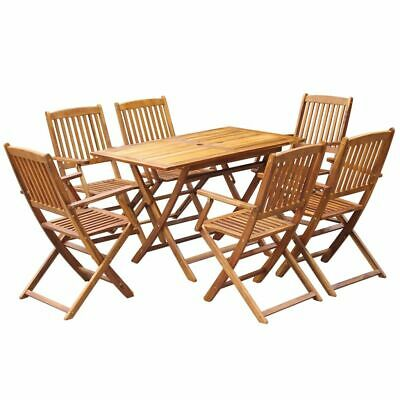vidaXL 7 Piece Solid Acacia Wood Outdoor Dining Set Folding