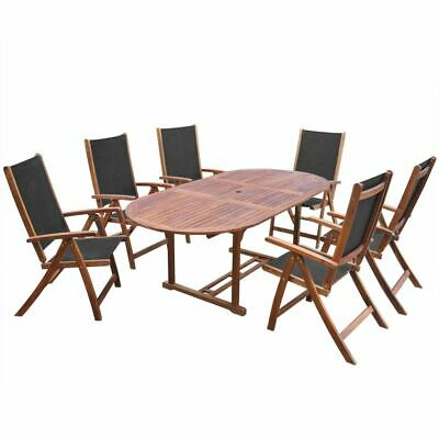vidaXL 7 Piece Solid Acacia Wood Outdoor Dining Set Garden