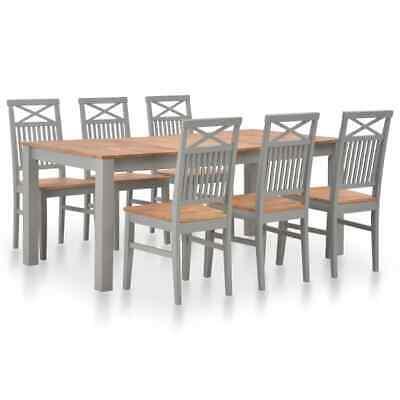 vidaXL 7 Piece Solid Oak Wood Dining Set Home Kitchen