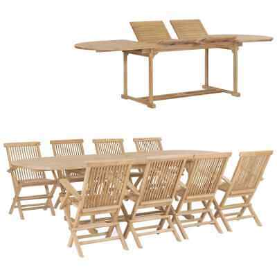 vidaXL 9 Piece Solid Teak Wood Garden Dining Set