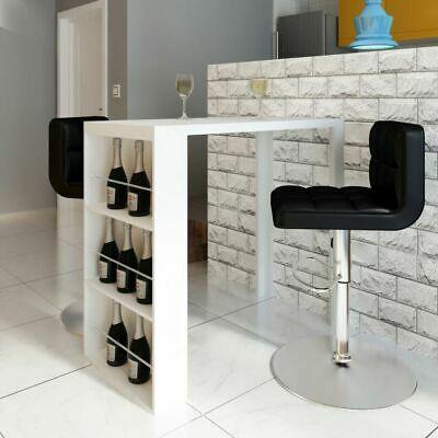 vidaXL Bar Table MDF with Wine Rack High Gloss White