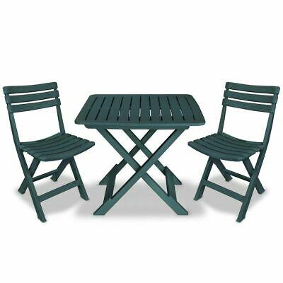 vidaXL Bistro Set Three Piece Plastic Green Outdoor Folding