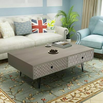 vidaXL Coffee Table 100x60x35cm Grey Drawer Side End Living