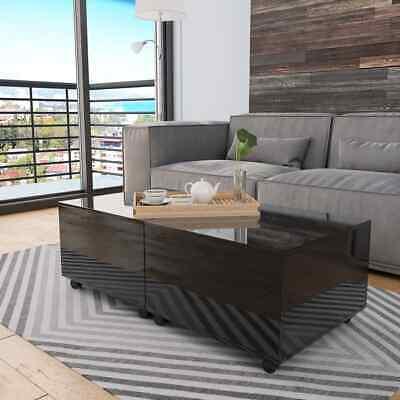 vidaXL Coffee Table High Gloss Black 120cm Home Extendable