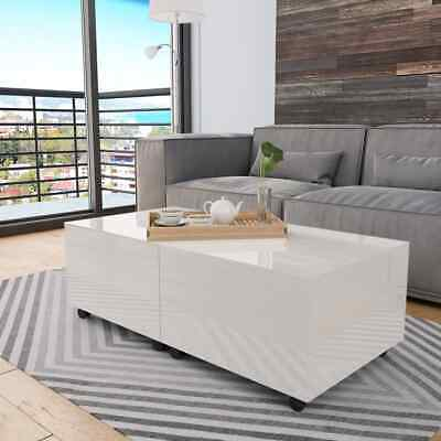 vidaXL Coffee Table High Gloss White 120cm Home Extendable