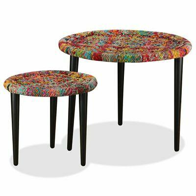 vidaXL Coffee Table Set 2 Piece Chindi Weave Details