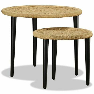 vidaXL Coffee Table Set 2 Piece Natural Jute Living Room