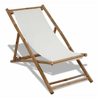vidaXL Deck Chair Bamboo and Canvas Garden Beach Pool