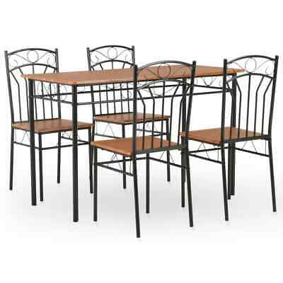 vidaXL Dining Set 5 Pieces MDF and Steel Brown Dinner Room