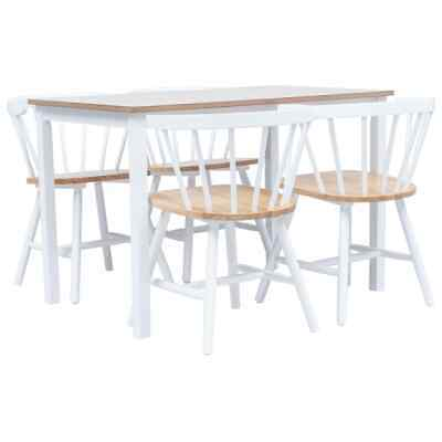 vidaXL Dining Set 5 Pieces Solid Rubber Wood White and Brown