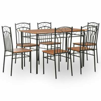 vidaXL Dining Set 7 Pieces MDF and Steel Brown Dinner Room