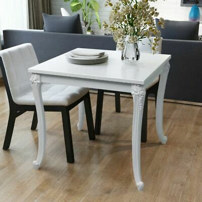 vidaXL Dining Table 80x80x76cm High Gloss White Kitchen Cafe