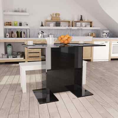 vidaXL Dining Table High Gloss Black 110cm Chipboard Kitchen